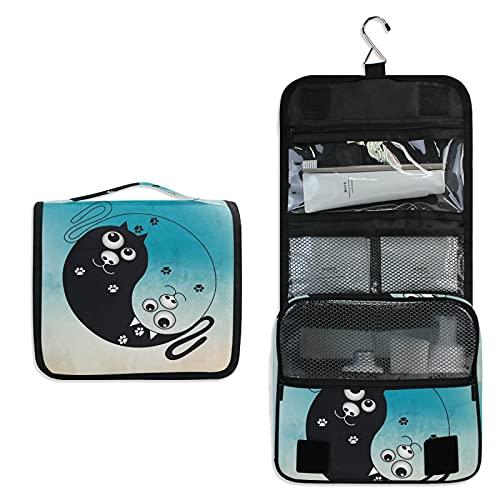 Gato Blanco Negro Bolsa de Aseo Colgante Organizador Cosmético de Viaje Ducha Bolsa de Baño Neceser de Viaje para Maquillaje niñas Mujeres