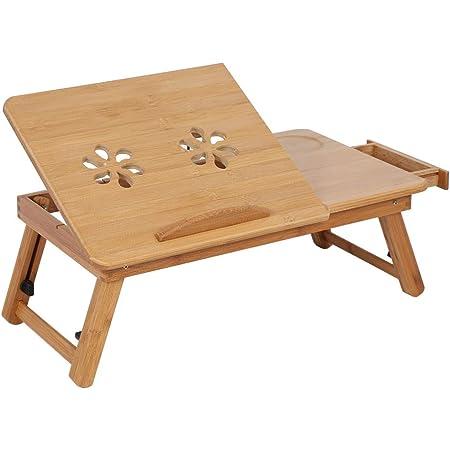 Victool Laptoptisch Höhenverstellbar Bett Laptop Tisch Mit Schublade Bambus