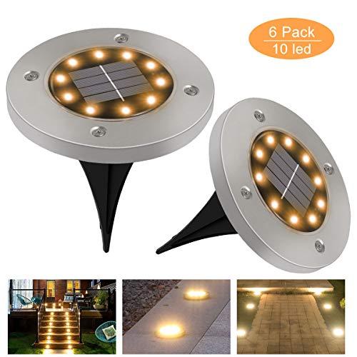 Solar Bodenleuchten Aussen GolWof 6 Stück 10 LED Solarleuchten für Außen IP65 Wasserdichte Solarlampen Garten Boden Solarleuchte Warmweiß Edelstahl Deko Garten für Patio Rasen Hof Gehweg
