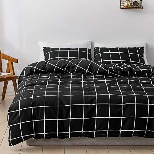 Damier Ropa de cama de 135 x 200 cm en blanco y negro a cuadros, 2 piezas, funda nórdica de 100% microfibra suave con cremallera y 1 funda de almohada de 80 x 80 cm