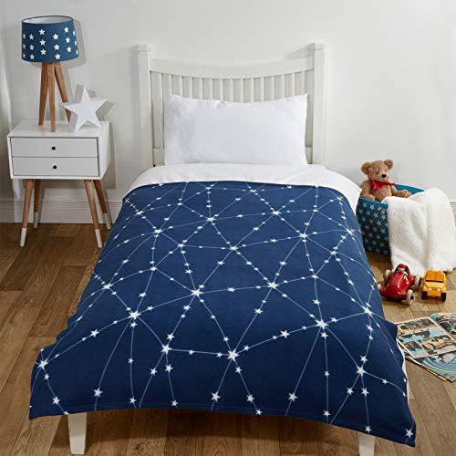 Dreamscene Galaxy Star Manta de Forro Polar para niños, Suave, Espacio Solar, 120 x 150 cm, Color Azul Marino