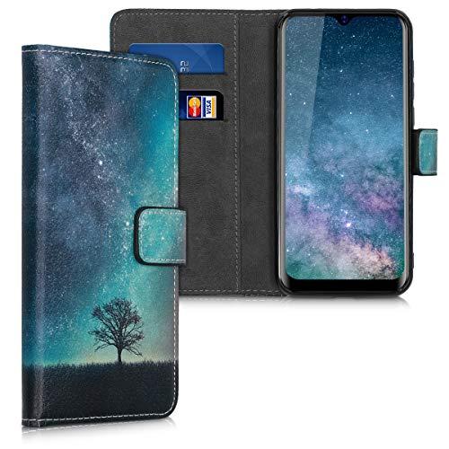 kwmobile Wallet Hülle kompatibel mit Blackview A60 Pro (4G) - Hülle Kunstleder mit Kartenfächern Stand Galaxie Baum Wiese Blau Grau Schwarz