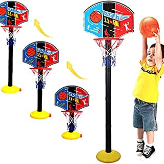 Heyean Toddler Kids Basketball Hoop Stand Adjustable Easy Score Basketball Game with Adjustable Height Settings for Boys G...