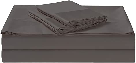 1500TC Cotton Rich 4 Pieces Queen Bed Sheet Set, Flat Sheet, Fitted Sheet & 2 Pillowcases Charcoal