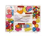 Pracht Creatives Hobby 0855-191 Cuentas de Madera en Diferentes Formas y Colores Surtidos, con cordón Blanco para enhebrar, Ideal para Manualidades y diseño de Cadenas, Pulseras y Otras Joyas.