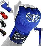 ALPHA FORCE Envolturas para Manos Guantes de Boxeo internos Manoplas de Gel MMA Martial Arts MMA Protector de puño Vendas Manoplas (Azul, Medio)