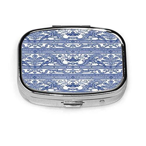 Pastillero Caja decorativa personalizada Soporte para tableta para bolsillo Parrot Da Border Strip Willow Ware Azul U Blanco