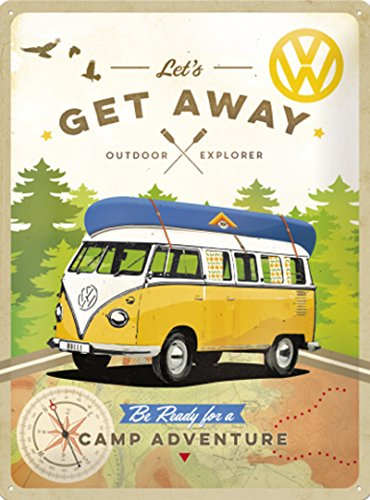 Sweet and Nostalgic Camper 'Get Away' - 3D Embossed Metal Wall Sign - Large 30cm x 40cm