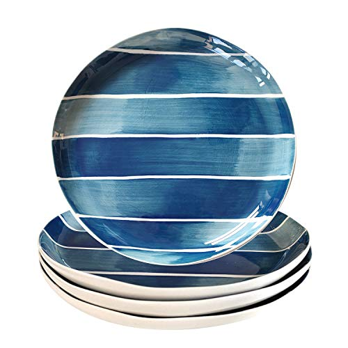 Senliart Teal Blue Dinner Plates, Striped Colored Ceramic Plates 8.25 inch, Set of 4