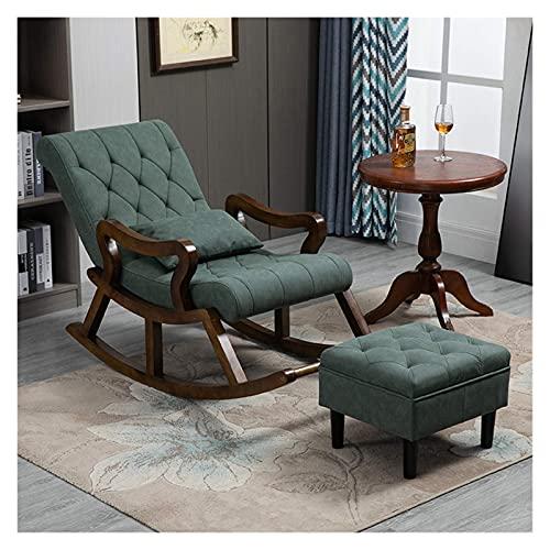 DGDF Silla mecedora de madera maciza de estilo chino, cómoda tecnología tela silla de hombre viejo, con reposapiés 125 x 67 x 89 cm