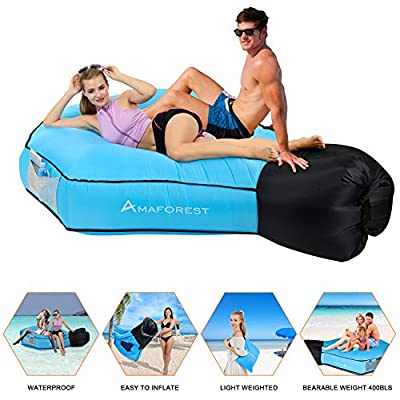 Inflatable Lounger Air Sofa Hammock-Inflatable Couch Air Chair Anti-Air Leaking Pouch Couch with Pillow and Carrying Bag for Outdoor Accessories for Parties, Travel,Camping (Blue)