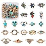 Cheriswelry 40 piezas de aleación de diamantes de imitación de diamantes esmaltados, redondos, planos, mariposa, corazón, elefante y flores, conectores para joyería y pulseras