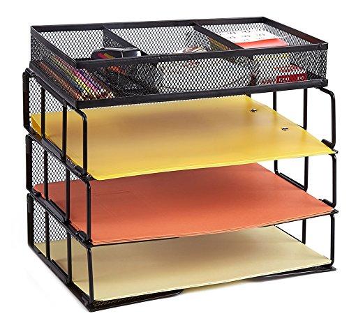 proaid malla oficina organizador de escritorio de 3niveles apilable Carta bandeja organizador de organizador con 3compartimentos, color negro
