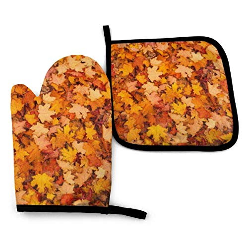 2 Pieces Oven Gloves and Pot Holder Red and Orange Autumn Leaves Waterproof Kitchen Oven Mitts Heat Resistant Pot Pad for BBQ Cooking Baking Grilling
