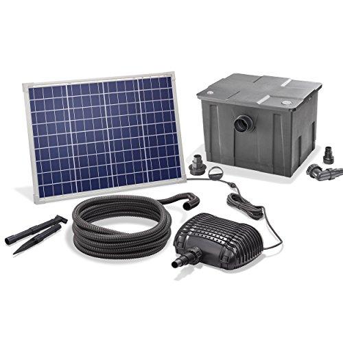 Solar Teichfilterset Premium 2500 l/h Förderleistung 50 Watt Solarmodul 2m Förderhöhe Solarfilter Außenfilter Gartenteich esotec pro Komplettset 101080