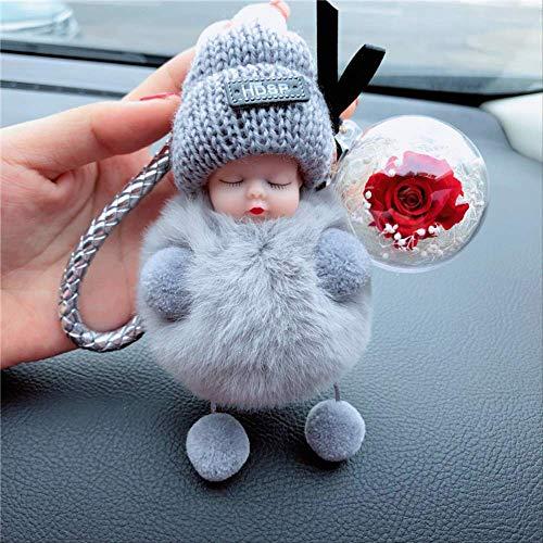 Nette Puppe Puppe Plüsch Auto Schlüsselanhänger Weiblich Geschenk Schlüsselanhänger Schultasche AnhängerDIYEwige Blume Grau+Blume+Lederseil