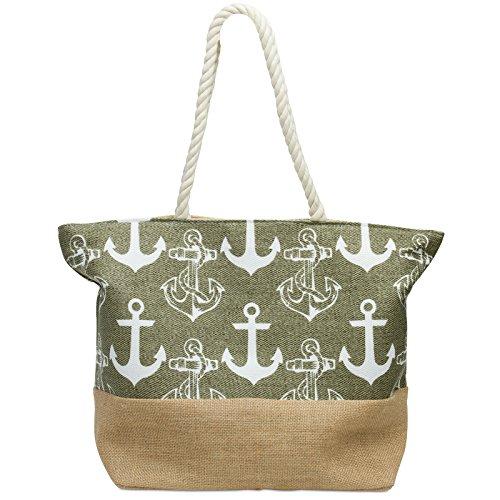 Caspar TS1034 Damen Strandtasche mit Anker Muster, Farbe:oliv grün, Größe:One Size