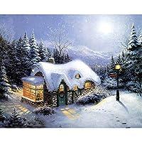 DIY数字油絵 塗り絵キット パズル油絵 森の雪の家 デジタル油絵 手塗り 数字キットによる絵画 絵かき インテリア 壁飾り ホームデコレーション 40x50cm(額縁なし)
