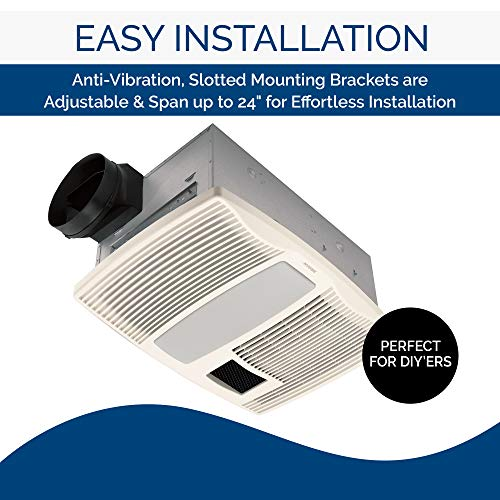 Broan-Nutone QTX110HL Very Quiet Ceiling Heater, Fan, and Light Combo - Best bathroom exhaust fans with light and heater