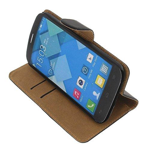 foto-kontor Tasche für Alcatel One Touch Pop C9 Book Style schwarz Kreditkarte Schutz Hülle Buch