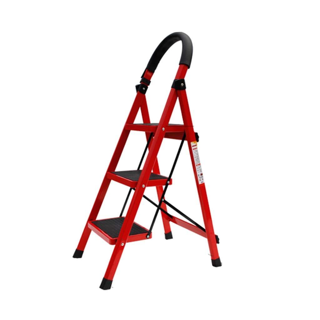 Escalera de hierro rojo, tres escalones, escalera de cuatro peldaños al aire libre, escaleras de ingeniería, taburete/capacidad de carga: 150 kg de espacio, rojo: Amazon.es: Bricolaje y herramientas