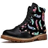 TIZORAX Botas de invierno para las mujeres Calcetines de invierno con muñeco de nieve ciervos imprime la parte superior alta con cordones clásicos zapatos de la escuela, color Multicolor, talla 37 EU