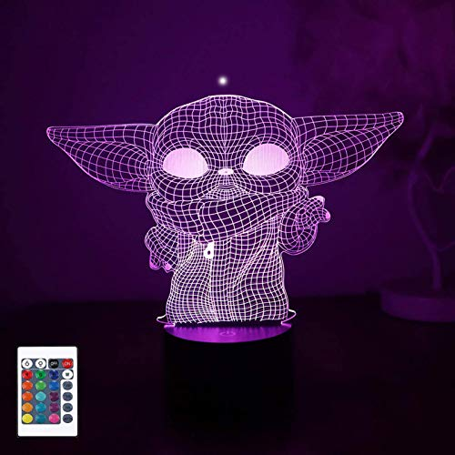 Baby Yoda 3D Night Lights, LED Phantom Lights, 16 Color Change Decorative Lights, Touch USB Charging Desk Lights, With Remote Control, Children's Gift Toys (Boys, Girls)