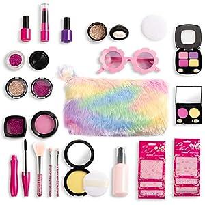 Joyjoz Set de Maquillaje Falso para Niñas de 27PCS, Kit de Maquillaje de Falso Unicornio para Niños, Juego de rol para…