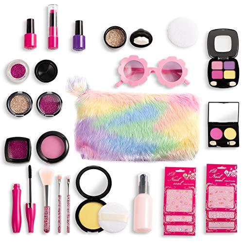 Joyjoz Set de Maquillaje Falso para Niñas de 27PCS, Kit de Maquillaje de Falso Unicornio para Niños, Juego de rol para Niñas Pequeñas Cumpleaños