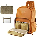 Leather Diaper Bag Backpack,Maternity Baby Diaper Backpack,Travel Backpack Baby Bag with Roomy Pockets, Changing Pad, Large Capacity ,Thermal Pocket,Waterproof and Stylish (Brown)