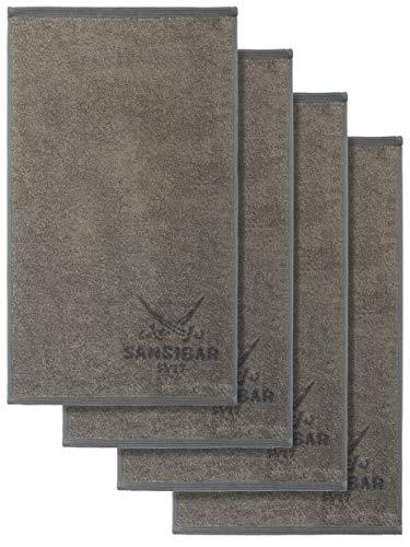 Sansibar Handtuch 4er Set 50x100 cm 100% Baumwolle Doubleface Frottiertuch Zweifarbig Taupe/Anthrazit