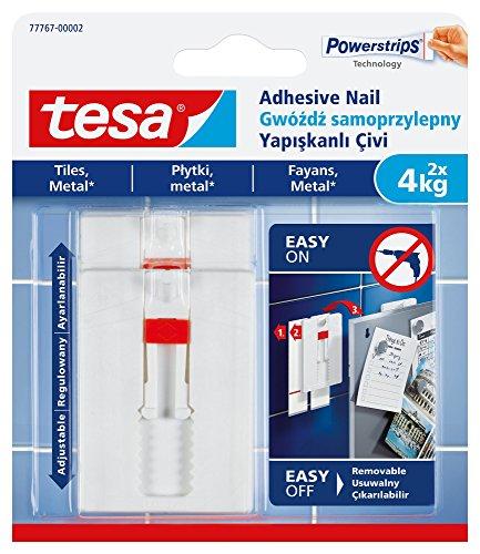 tesa - Clavo adhesivo extraíble para azulejos, metal y superficies lisas, color blanco, blanco, 77767-00002-00