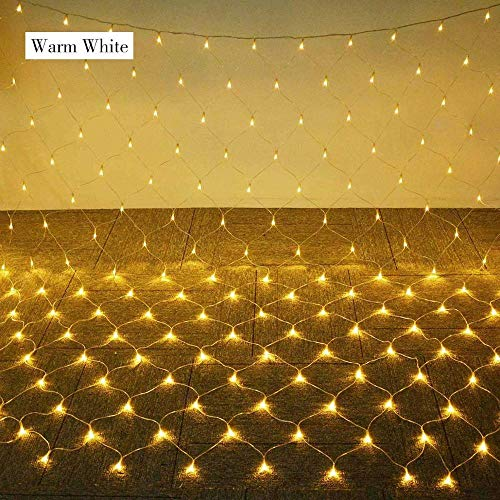 YOBENS NBM 1 5 * 1 5M / 3 * 2M / 6 * 4M Malla Neta LED Luz de Cadena Eventos Fiesta Boda Decoración navideña Hogar Jardín Al Aire Libre Luces de Hadas Enchufe de la UE-Blanco cálido_1.5M x 1.5M