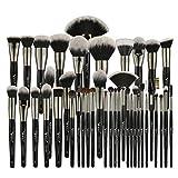 Juego de brochas de Maquillaje Profesional Negro 40/35/15 Piezas, brochas Grandes, Base en Polvo, brochas de Maquillaje de Pelo de Cabra