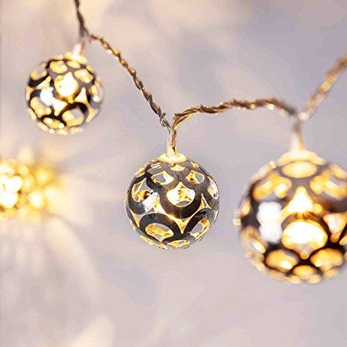 Lights4fun Silver Ball Indoor Fairy Lights with 16 Warm White LEDs