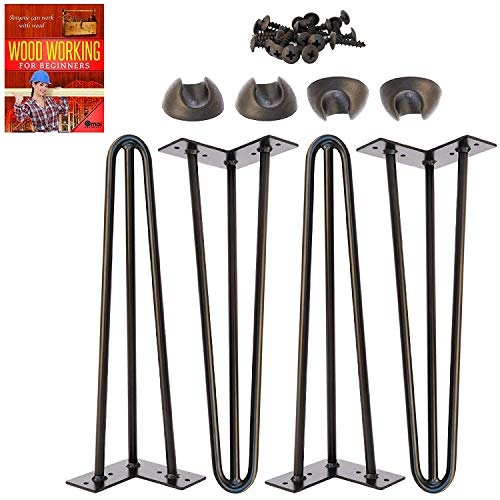 Omoi Hardware 16' Hairpin Legs, 3 Rods, 1/2' Thick, Heavy Duty, Black, Set of 4 Legs, 4 Floor Protectors & Screws - for Patio Bench and Coffee Table