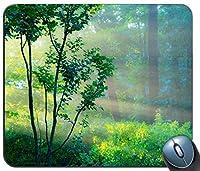 精密シーミングゲーミングマウスパッド、森林パターンカスタマイズされた長方形滑り止めラバーマウスパッドゲーミングマウスマット