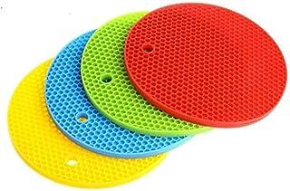 HelpCuisine Salvamanteles/Agarrador de ollas/salvamanteles para ollas/Salvamanteles redondos/reposacucharas de silicona alimentaria 100%, Juego de 4 manteles: azul, rojo, amarillo y verde
