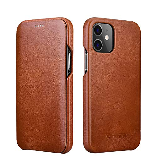 ICARER Compatible with iPhone 12 Mini Leather Case,Genuine Leather Flip Folio Opening Cover in Curved Edge Design, Slim Thin Side Open Case Compatible for iPhone 12 Mini 5.4 Inch (Brown)