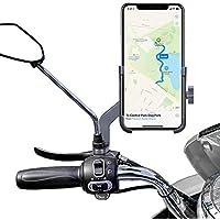 "Homeet Soporte Móvil Moto, Soporte Telefono Motocicleta Retrovisor Universal Aleación de Aluminio 360 Rotación Soporte Moto Retrovisor Antideslizante para 4.7"" a 6.8"" Telefono y GPS"