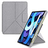 VEGO Case for iPad Air 4 10.9' with Apple Pencil Holder, Support Auto Wake/Sleep Standing Origami Slim Shell Protective Cover, Compatible with iPad Air 4th Generation [2020 Release](Gray)