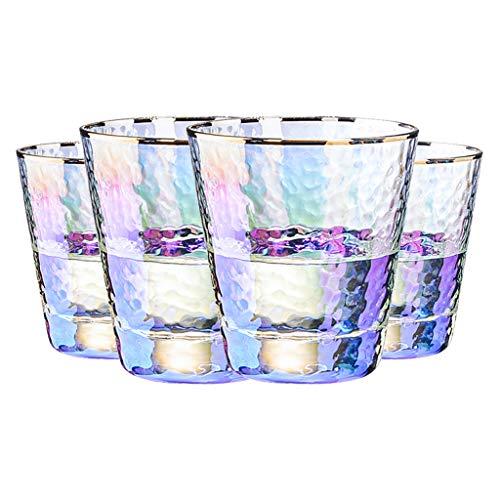 Copas de vino Juego De 4 Piezas Coloridas Juego De Tazas Multifuncional para El Hogar 300 Ml, Vaso De Cerveza De 330 Ml, Cristal Grueso Sin Plomo (Color : Color-A, Size : 9 * 10.3cm*4)