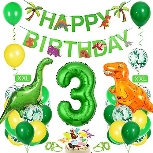 Bluelves Decoración de cumpleaños para niños Dino, Globo Verde 3, decoración de cumpleaños para niño de 3 años, decoración de cumpleaños