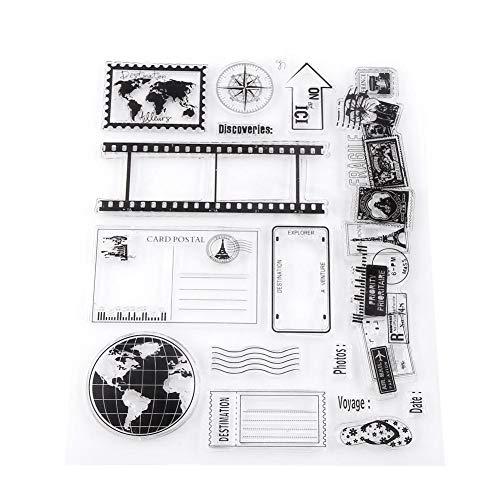 Akozon Clear Stempel Scrapbook Fotokarten Postkarten 14x18cm Gummidichtung Silikon Briefmarken