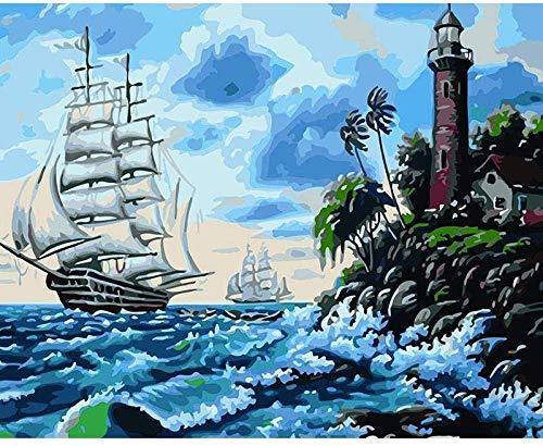 Lznxzq Pintura por números para Adultos | Barco de Vela Blanco | Kit de Pintura al óleo en Lienzo para Bricolaje Adecuado para Adultos, niños y Principiantes Decoración del hogar (40x50cm)