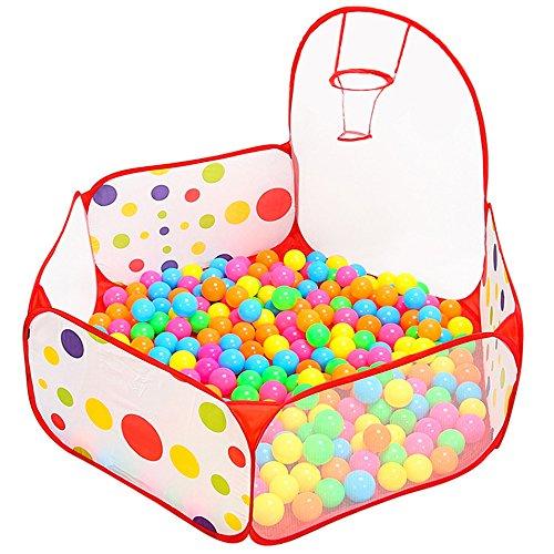 Dazers 折り畳み式 カラーボールプール バスケットゴール付き 子供用テント 組み合わせた 室内と公園玩具 ...