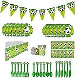 Topways Soccer Party Supplies Geschirrpaket für 12 Gäste, bestehend aus Fußballfahnen, Einwegtellern, Bechern, Plastikmessern, Gabel, Löffel, Servietten, Tischdecke