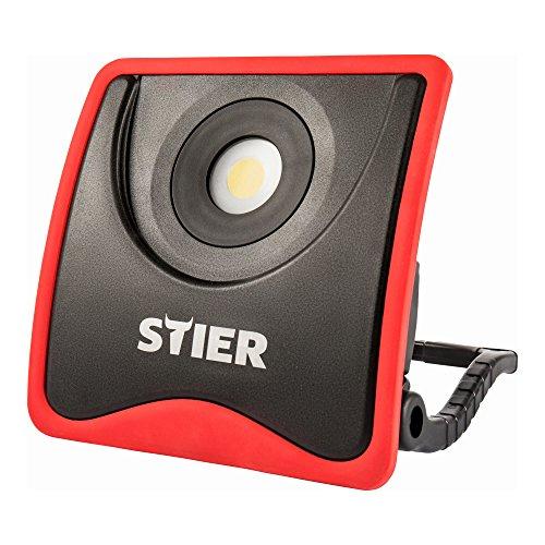 STIER Akku COB LED Baustrahler, 2200 Lumen, starker 7800 mAh Akku, flexibler Standfuß, Aluminiumgehäuse, Akku Strahler, Arbeitsleuchte, inkl. Netzteil