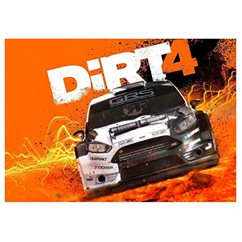 LYWUSUZE Dirt 4 Poster Xbox Windows PS4 Rally Car Poster Home Living Room Decorative Wall Painting Print -60x90cm No Frame