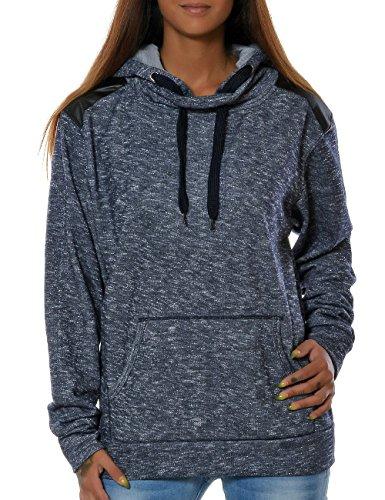Daleus Damen Kapuzen-Pullover Sweatshirt-Jacke Hoodie No 15715 Blau S / 36